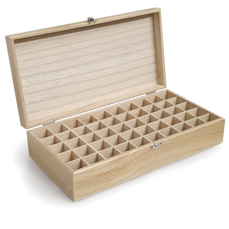 WOODEN OIL STORAGE BOX - 50 COMPARTMENT LARGE