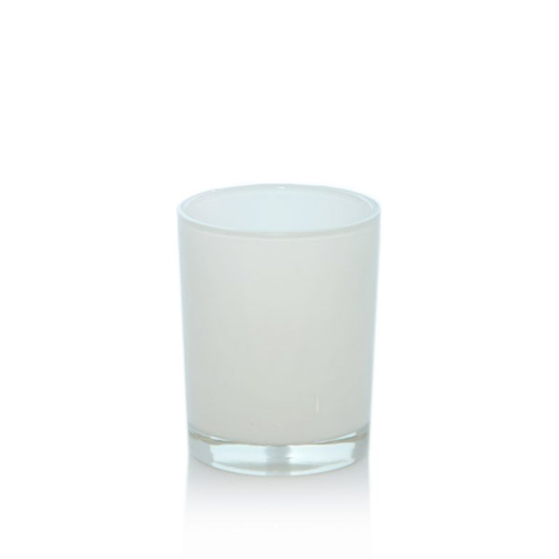 VOTIVE JAR WHITE GLASS