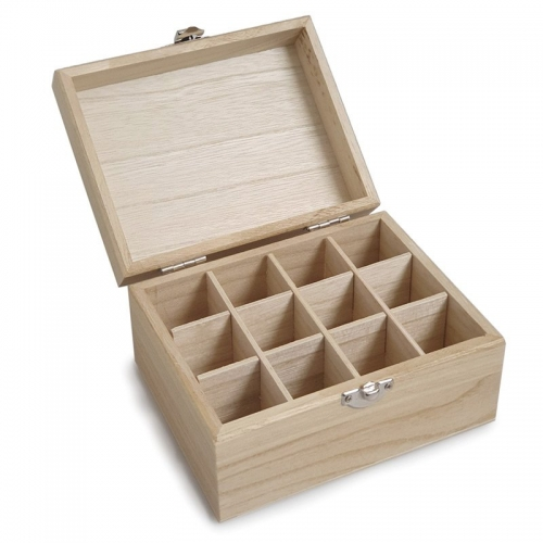 WOODEN OIL STORAGE BOX - 12 COMPARTMENT SMALL