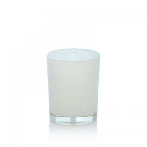 VOTIVE JAR WHITE GLASS