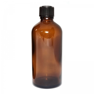 100ML AMBER GLASS BOTTLE WITH BLACK CAP